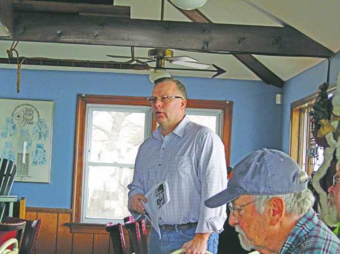 OBSERVER Photo by Gene Pauszek DEC Regional  Wildlife Manager Ken Baginski gave a report at Hoak's Restaurant during the WNYEF meeting last weekend.