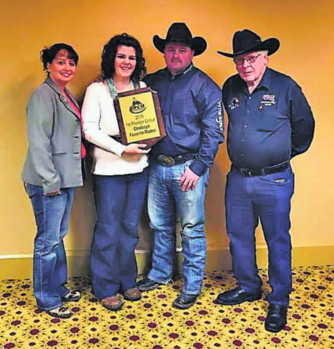 "Submitted Photo Pictured, from left to right, are: Shana Graham, Painted Pony Rodeo's co-owner; Allie Hall, rodeo advertising chair; Shawn Graham, Painted Pony co-owner; and Dave Hall, assistant rodeo chairman, displaying the award given to the Gerry rodeo committee as the ""Cowboys Favorite Rodeo"" in the First Frontier Rodeo Circuit."
