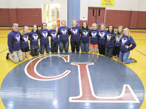 Submitted Photo The Chautauqua Lake Lady Thunderbirds and Maple Grove Lady Red Dragons square off this Friday in CCAA West 1 girls high school basketball. Halftime activities will benefit cystic fibrosis research. Jayvee is slated for 6 p.m. and varsity will follow, roughly around 7:30 p.m. in the Chautauqua Lake competition gym. Team members researched the chronic disease, which touched a local family last year. The Thunderbird Athletic Club will conduct a raffle and 50/50 drawing, while student athletes and their families hold a bake sale and halftime games. Proceeds will support the search for a cure to cystic fibrosis, a genetic lung disorder that affects the pancreas and other organs, as well as providing information on how to treat and live with this chronic disease. Sporting shirts announcing the event are coach Bill Persons, left, and Lady Thunderbirds.