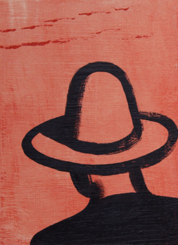 Man in hat, 2015, acrylic on panel