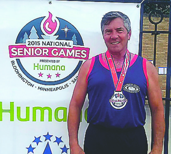 Submitted Photo Lakewood resident Mike Sayers is pictured at the 2015 National Senior Games.