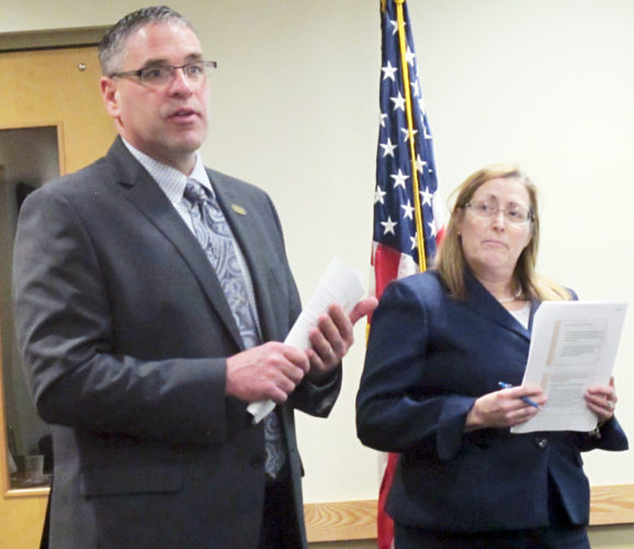 OBSERVER Photo by Rebecca Cuthbert Silver Creek Central School Superintendent Todd Crandall and District Treasurer Cindy Mackowiak gave a presentation on Federal Impact Aid at a recent school board meeting.