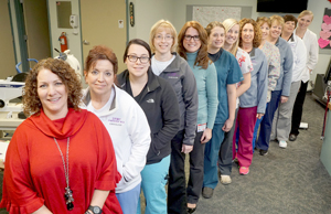 Submitted Photo UPMC Chautauqua WCA Heart Center team pictured front to back, Melanie Cobb, Rhonda Yachetta, Harleigh Moon, Julie Davidson, Tammara L.C. Hodges, Andrea Gilles, Hillary Widrig, Connie Moore, Karen Watson, Amy Roehrig, Brenda Fitzgerald and Morgan Olver. The heart team will offer free blood pressure screenings and patient education fact sheets during February for American Heart Month.
