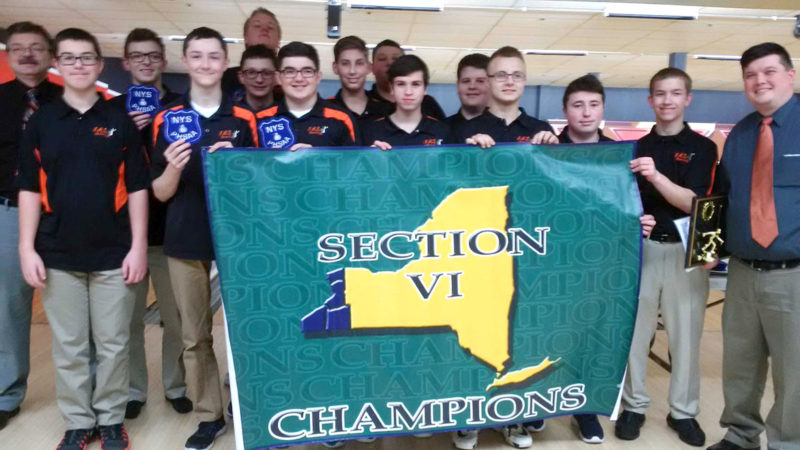 Submitted Photo The Fredonia Hillbillies captured their first ever SectionVIClass C championship Thursday at Airport Lanes.Pictured are members of the team. They are, in front from left, Jacob Patterson, Travis Langworthy, Andrew Conti, Trace Mackenzie, Michael Dispense, Jacob Marsh, Michael Mackowiak and Coach Tom Battaglia. In the middle row are Coach Roger Pacos, Bryson Pacos, Josh Ellman, Jarrett Maslak and Chandler Orr. In back are Cody Decker and Ricky Burgstrom.