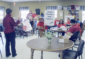 "OBSERVER Photo by Gib Snyder Chautauqua County seniors met up for a rally at 10:30 a.m. on Tuesday at the Dunkirk Adult Day Center. It was one of several that took place that day. At the rallies, seniors gather to show unity and sign petitions that will be sent to state legislators and to Gov. Andrew Cuomo to protest the proposed budget cuts in Aging Services programs. The Chautauqua County Office for the Aging and the Association on Aging in New York, as well as other area agencies, say they are joining forces on the ""Step up for Seniors"" initiative, which intends to show state elected leaders their support for senior program funding."