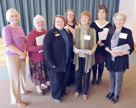 Submitted Photo The Jamestown Chapter of the National Society of the Daughters of the American Revolution inducted five new members recently at the Patriots' luncheon. Shown in the photograph are Chaplain Martha Karapansto, new member Sandra Tellinghuisen, Chapter Regent Connie Pilato, and new members Sara Smith Becker, Mary Bernard Holton, Dawn Hindman Swanson and Karole Bernard Lawson. Holton and Lawson are two sisters from Cassadaga.