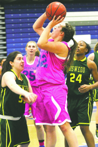 OBSERVER File Photo Fredonia's Jenna Einink goes up for a shot during her team's SUNYAC women's basketball game against Oswego, on Feb. 10. Einink was named to the All-SUNYAC Second Team recently by the conference's coaches.