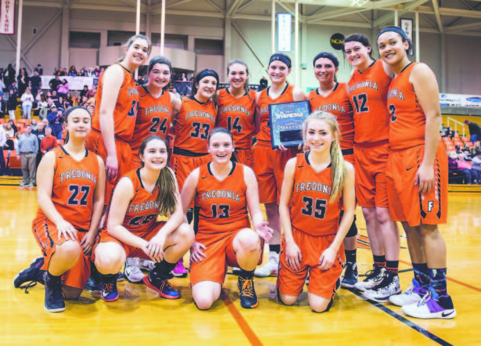OBSERVER File Photo Pictured are members of the Fredonia Lady Hillbillies varsity basketball team after they won the overall Section VI, Class B title on Wednesday over Wilson. The Lady Hillbillies square off against Section V, Class B champion Mynderse tonight at 7 p.m. at Buffalo State in the NYSPHSAA Far West Regional.