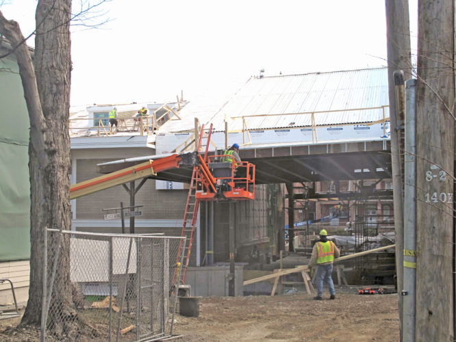 Construction crews are hard at work as the Chautauqua Institution Amphitheater project continues at a quick pace.