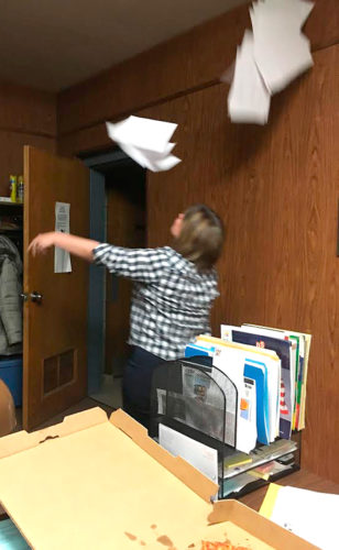 OBSERVERPhotos by Amanda Dedie. Cassadaga Mayor LeeAnn Lazarony bids adieu to the village (and its budget papers) at her last board meeting.
