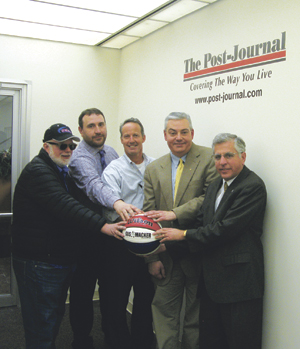 From left are: Lee John, Media One Group representative; Bob Patchen, Times Observer publisher; Michael Bird, Post-Journal publisher and co-director of the Gus Macker tournament; John D'Agostino, OBSERVER publisher; and Jamestown Mayor Sam Teresi. Not pictured are: Kim Carlson, founder of the Alex Foulk Fund and A Fresh Start; and Chris Dole, co-director of the Gus Macker tournament.