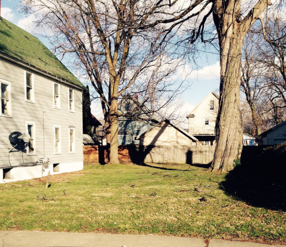 This side lot at 734 Main St., Dunkirk, was one of the recent property dispositions of the Chautauqua County Land Bank Corporation. Its new owner, who lives on the adjoining parcel, has agreed to remove the diseased tree there that has been causing problems for some time.