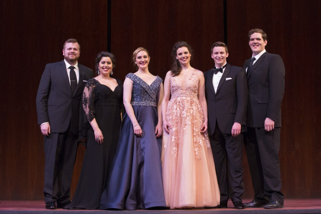 Submitted Photo The winners of the 2017 National Council Grand Finals Concert (from left): SUNY Fredonia alumnus Kyle van Schoonhoven, Vanessa Vasquez, Samantha Hankey, Kirsten MacKinnon, Aryeh Nussbaum Cohen and Richard Smagur.