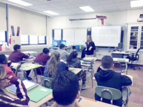 Submitted Photo CASAC educator Jackie Solazzo speaks to Dunkirk Middle School sixth graders during a class sponsored through a Rotary district grant secured by the Dunkirk Rotary Club.