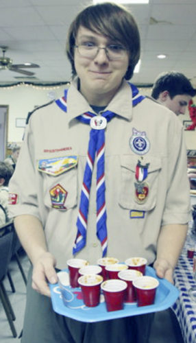 Submitted Photo New Eagle Scout Jordan Cooley is ready to try the chilis brought in for the Chili Cook-off.