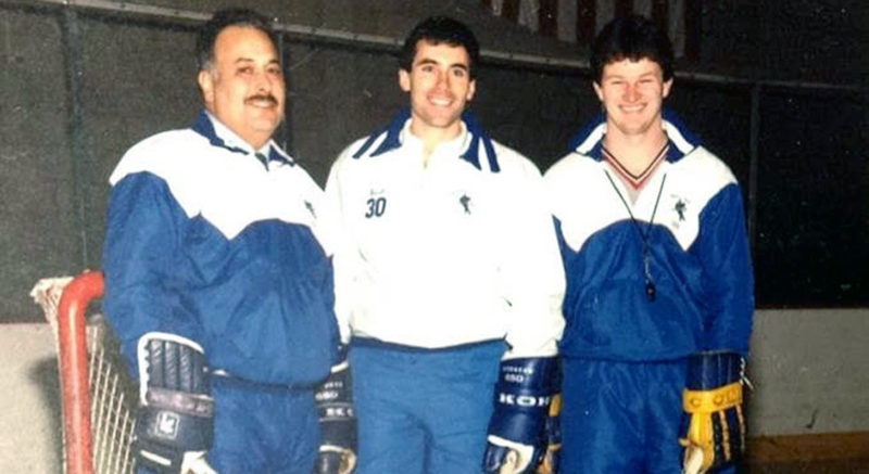 Submitted Photo: Men's hockey coach Jeff Meredith, center, flanked by former assistants Rich Saletta (left) and Brian Dickinson.