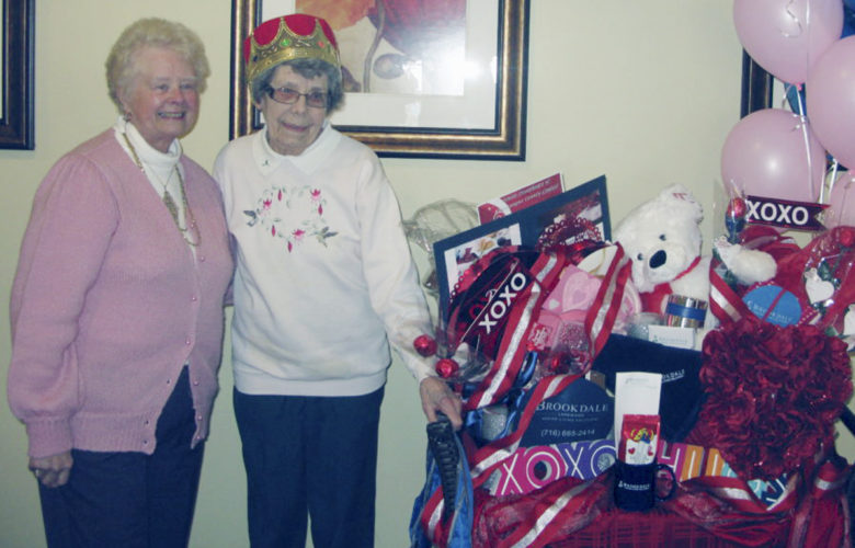 Photo by Gavin Paterniti: Grace Kent, 90, was crowned the 2017 Senior Sweetheart of Chautauqua County during a reception at Brookdale Lakewood. She is pictured with a package of gifts awarded to her, valued at over $400.