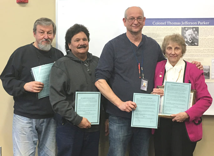 OBSERVERPhoto by Andrew David Kuczkowski. From left: Phil Palen, Nicholas Crassi Jr., Mark Burr and Carol Sheibley were recognized as the four pillars of the village by Gowanda Mayor Heather McKeever.