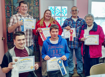 Submitted Photo St. John's Church cook-off winners have been named. In back: Walter Gunther, Trisha Ehman and Ed Erhart. Front: Cody Harvey, Nick Rhinehart and Edna Booth.