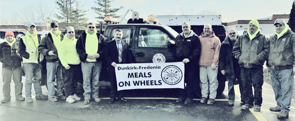 Submitted Photo: Dunkirk Public Works Department volunteers during March for Meals are pictured. From left: Steve Zatorski, Bill Kuras, Doug Owen, Jim Meyer, Pat Begier, Mayor Willie Rosas, Bob Bankoski, Jim Ganey, Al Pacos, D-F Meals on Wheels; Tim Gotowka and Ray Abramowicz.
