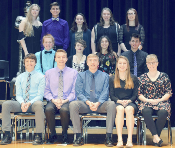 Submitted Photo Thirteen students in 11th grade at the Silver Creek Central School District were feted during National Honor Society induction ceremonies recently in the district auditorium. Front, left to right: Jonathan Pulver, Ryan Rocque, Zachary Rybak, Krystel Schwab and Briget Whipple. Middle, left to right: Sean Marchant, Lauren Grover, Taylor Farley and Alex Bogosian. Standing, left to right: Mckayla Polowy, Jonathan McDaneld, Emma Pryll, Kennedy Parks and Cassandra Pillard.