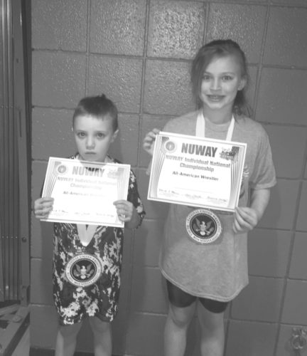 Submitted Photo: Kimberly and Derek Bauer from Grindhouse Wrestling Club participated in the NUWAY National Wrestling Tournament on Sunday, April 9 in Battle Creek, Mich. Kimberly placed fourth in girls 9U 78-pound division while Derek placed sixth in 6U 47-pound division.