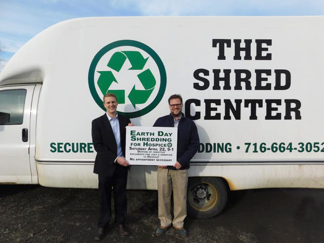 Submitted Photo Pictured are brothers Taylor Swanson, left, and Jamie Swanson right. They are the new owners of the Shred Center, which will be taking donations for Chautauqua Hospice and Palliative Care for shredding services on Earth Day, April 22 in lieu of payment.