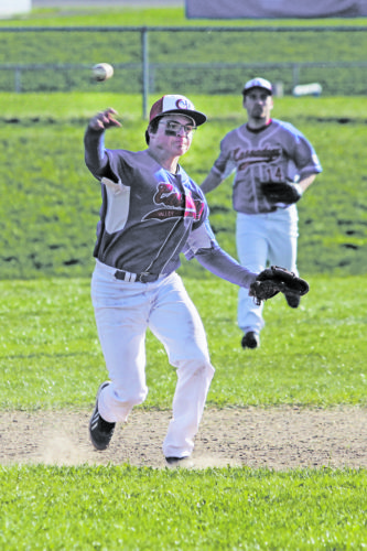 OBSERVER Photo by Lisa Monacelli Cassadaga Valley shortstop CJ Kubera makes a throw to first base during his team's CCAA West 2 baseball game against Panama, on Tuesday, at Cassadaga Valley.