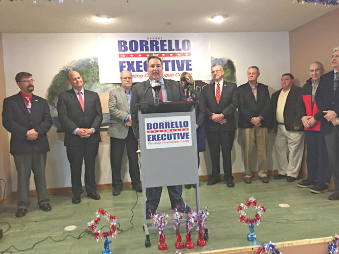 OBSERVER Photo by Jimmy McCarthy. County legislator George Borrello announced his candidacy for Chautauqua County executive in Silver Creek on Wednesday. Borrello was joined by family, friends, top Republican leaders and some local Democratic leaders.