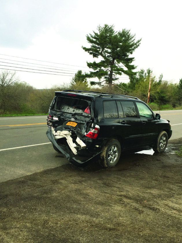 OBSERVER Photo by Gregory Bacon: This vehicle was struck by a pick-up truck Thursday around 5:30 p.m. on Route 60, Sinclairville, south of Moon Road. At least one person was taken to an area hospital, however a state trooper at the scene said the injuries did not appear life-threatening.