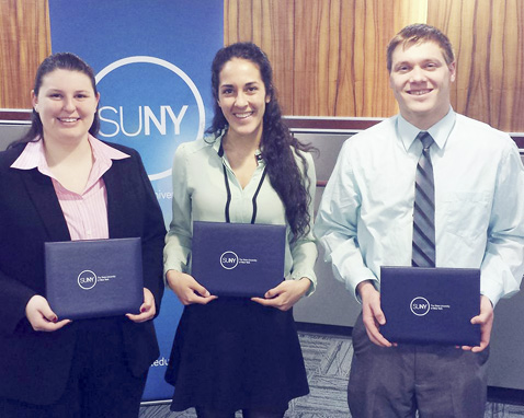 Submitted Photo From left: SUNY Fredonia seniors Rebecca Hartling, Maria Gordon and Zachary Eklum were among 256 SUNY students from across the state to receive the 2017 SUNY Chancellor's Award for Student Excellence.