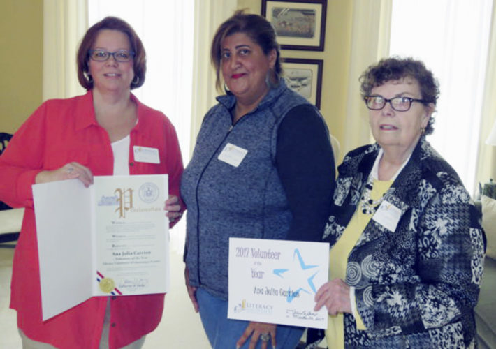 Submitted Photo Pictured are Julie LaGrow, director of the LVCC; Ana Julia Carrion, 2017 Volunteer of the Year; and Martha Wiser, LVCC president.