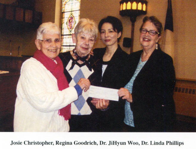 Submitted Photo: The Circle of Love recently received a donation from the First United Presbyterian Church in Dunkirk after a Marsh Recitals series. The money was raised by sales of the Angelove 2 CD made by the Zion Choir, which is composed of students from the School of Music at SUNY Fredonia. The cover of the CD was created by Cheryl Ritenburg. Pictured from left are: Josie Christopher, Regina Goodrich, Dr. JiHyun Woo and Dr. Linda Phillips.