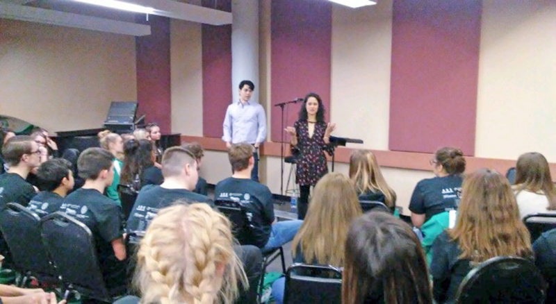 "Submitted Photo Ali Ewoldt and Rodney Ingram, the Broadway stars who play Christine Daae and Raoul from ""Phantom of the Opera"" leading Lake Shore students."