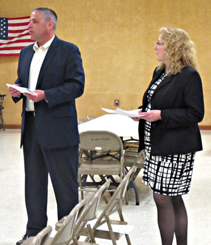 OBSERVER Photo by Rebecca Cuthbert Pictured here, Todd Crandall, superintendent of Silver Creek Schools; and Cindy Mackowiak, district budget officer, present the proposed 2017-2018 budget at a recent town board meeting in Sheridan. Crandall and Mackowiak will also present at the Silver Creek Village Board meeting Monday.