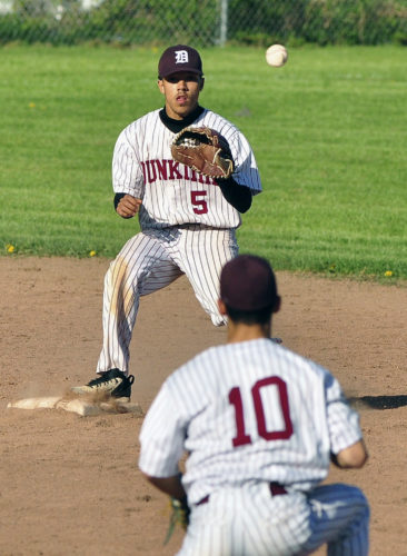 Photo by Scott Reagle Dunkirk second Baseman Felix Garcia (10)) tosses the ball to shortstop Tyreel Ruiz (5) Wednesday versus Southwestern.