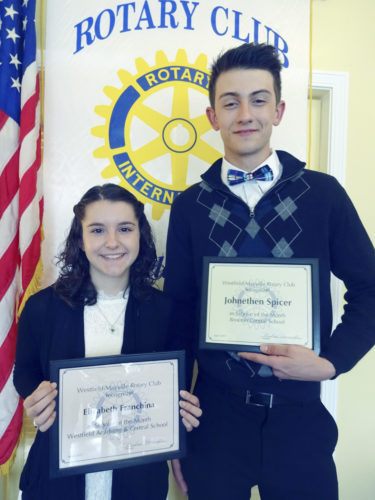 "Submitted Photo Elizabeth Franchina (left) of Westfield Academy and Central School and Johnethen Spicer of Brocton Central School were honored as ""Scholars of the Month"" at the April 25 meeting of the Rotary Club of Westfield-Mayville."