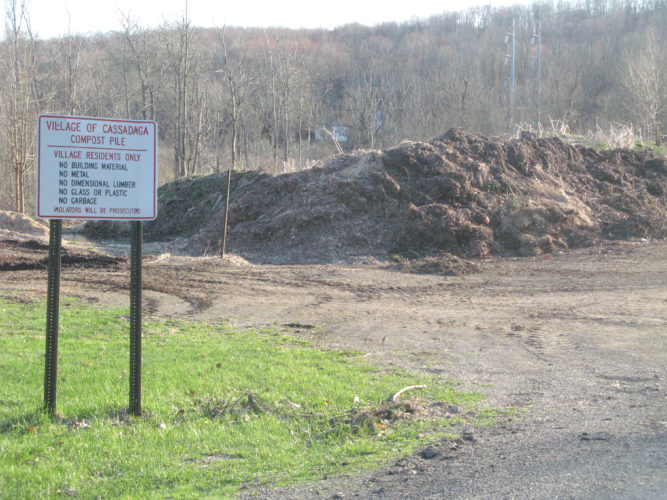 OBSERVER Photo by Amanda Dedie. The compost pile tucked away in Cassadaga may soon reach village-wide proportions if something isn't done about it soon.