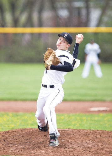 OBSERVER Photo by Joe Conti Silver Creek's Brad Rybak delivers a pitch Saturday during an 18-0 win over Dunkirk.