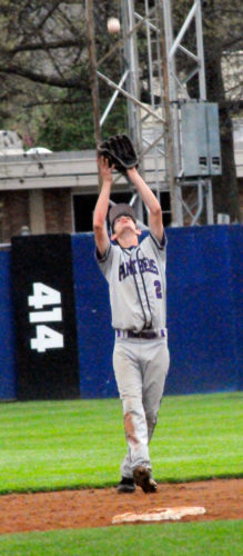 AACAPhoto by Matt Spielman Pine Valley's Matthew Hunt looks to snap a fly ball Saturday at Russel Diethrick Park.