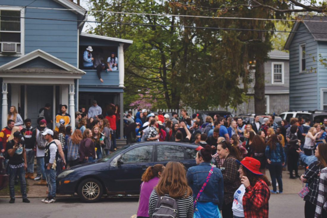 By Andrew David Kuczkowski The unofficial Fred Fest at the end of the year has many sides to it. They flood the streets in the village of Fredonia like above, as they pack a house on Day Street. Homeowners in the area have to stand up to protect their property from those who kick back too far.