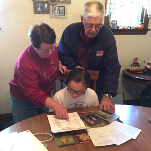 Persell Middle School seventh grader, Nicole McGrath, worked on her family tree for her Family History Project.
