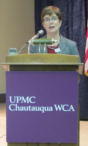 Betsy T. Wright, WCA Hospital president and chief executive officer, announcing the integration of WCA Hospital with UPMC health care network to form UPMC Chautauqua WCA.  P-J photo by Dennis Phillips