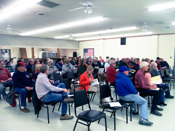 Sherman area residents gathered for an informational meeting regarding dissolution of the village. P-J photo by David Prenatt