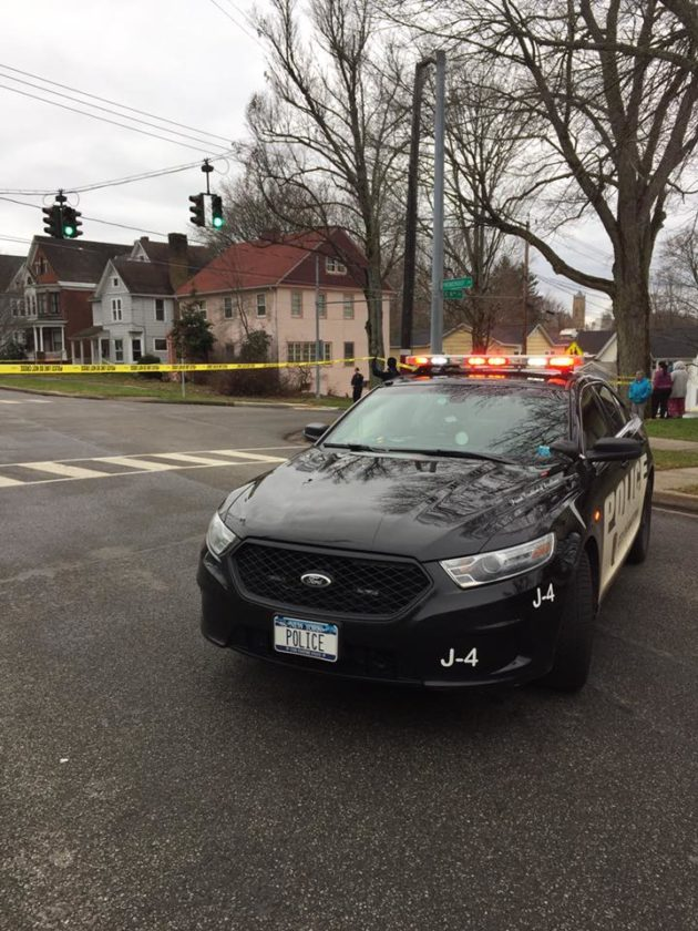 Jamestown Police blockade the scene of a Sunday afternoon shooting near Eighth Street and Prendergast Avenue Sunday. P-J photo by Eric Tichy