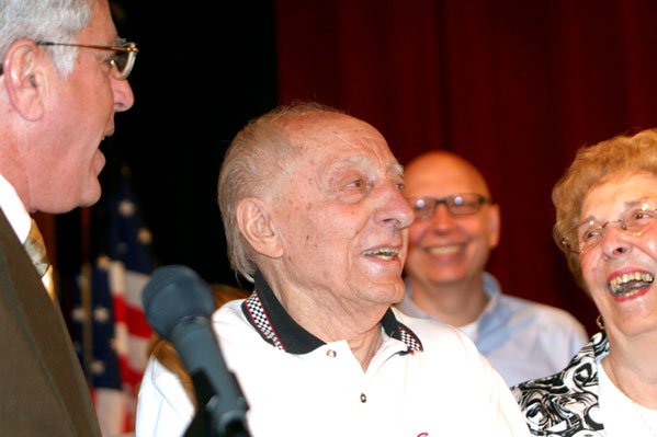 Sammy LaMancuso enjoys a light moment earlier this year during the premiere of a documentary on his racing career at the Robert H. Jackson Center. P-J file photo by Scott Kindberg