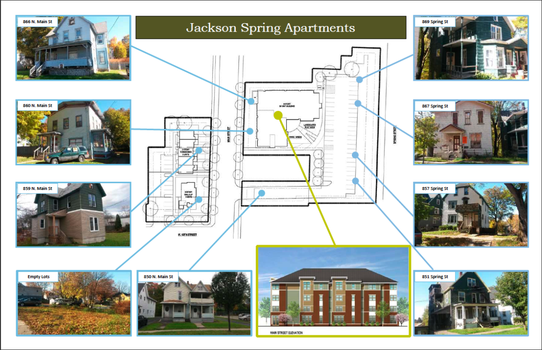 Photos of dilapidated houses and conceptual drawings of the new proposed Jackson Spring housing development project. Citizen's Opportunity for Development & Equality Inc. and The NRP Group are applying for $12 million in state funding to demolish eight dilapidated houses and to construct the new housing development. Submitted photos