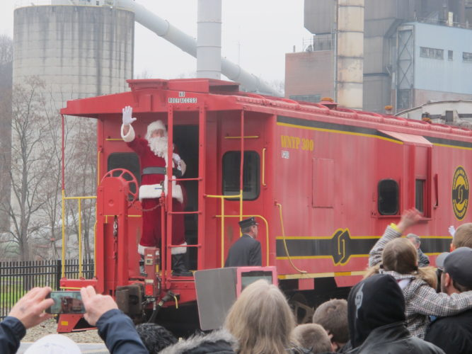 Santa Claus arriving to the Jamestown Gateway Train Station during last year's Santa Express event. This year's event will be held at Northwest Arena, located at 319 W. Third St., from 11 a.m. to 2 p.m. Saturday. P-J photo by Katrina Fuller