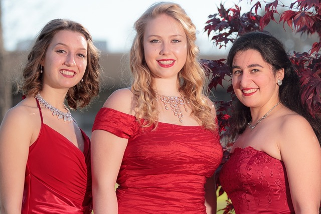 "From left are Juliana Grabowski, soprano; Lucia Helgren, soprano; and Mariami Bekauri, mezzo soprano. The three vocalists will be featured in the Western New York Chamber Orchestra's ""Poinsettia Pops"" concert at the Reg Lenna Center for the Arts on Wednesday — which is being hosted by the Jamestown Concert Association. Submitted photo"