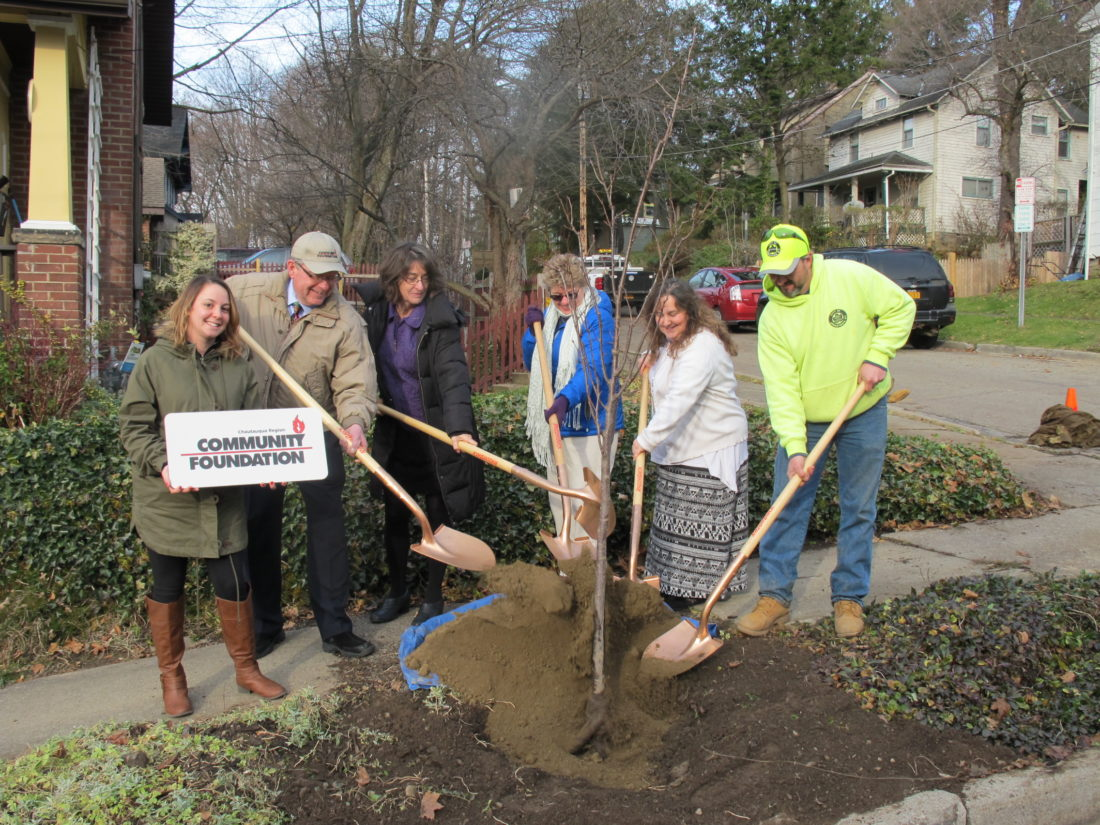 From left, Samantha Robinson, Kingsbury Street resident; Randy Sweeney, Chautauqua Region Community Foundation executive director; Mary Maxwell, Jamestown Renaissance Corporation neighborhood project associate; Sue Johnson, Kingsbury Street resident; Lisa Perrin, Kingsbury Street resident; and Dan Stone, city arborist; planting a tree on Kingsbury Street Wednesday. The city was able to plant 18 new trees along Kingsbury Street thanks to $5,000 in funding from the Chautauqua Region Community Foundation. P-J photo by Dennis Phillips